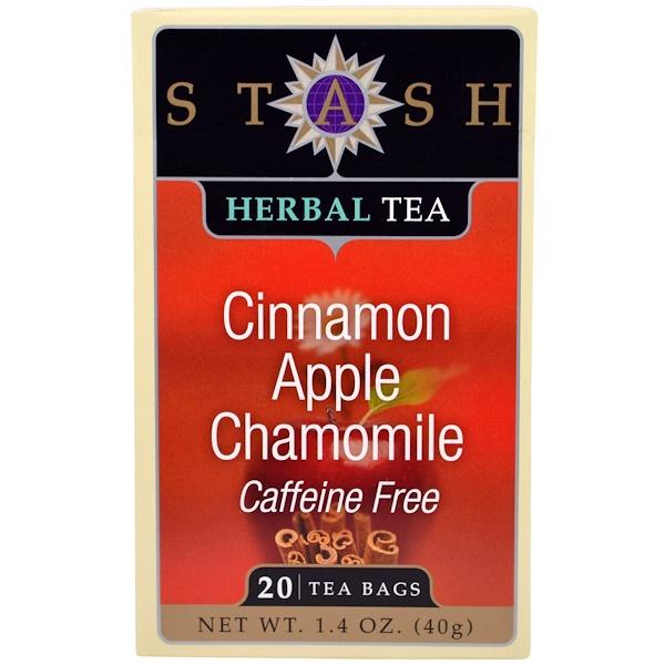 Stash Tea, 草藥茶,肉桂蘋果洋甘菊,不含咖啡因,茶20包,1、4盎司(40克)