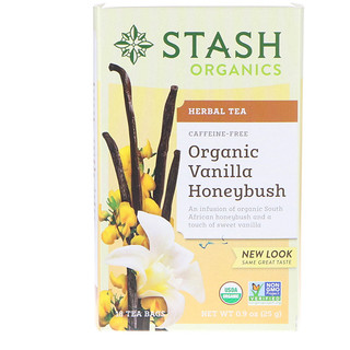 Stash Tea, Herbal Tea, Organic Vanilla Honey Bush, Caffeine-Free, 18 Tea Bags, 0.9 oz (25 g)
