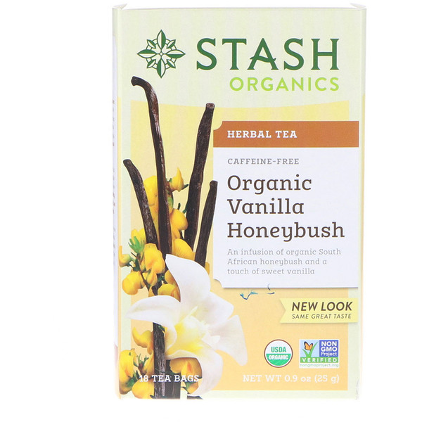 Stash Tea, Herbal Tea, Organic Vanilla Honey Bush, Caffeine-Free, 18 Tea Bags, 0.9 oz (25 g) (Discontinued Item)