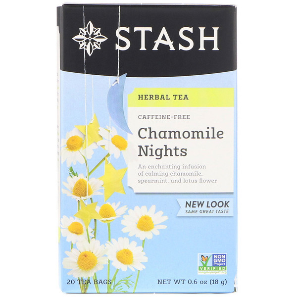 Stash Tea, Herbal Tea, Chamomile Nights, Caffeine Free, 20 Tea Bags, 0.6 oz (18 g)