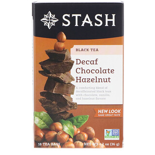 Stash Tea, Black Tea, Decaf Chocolate Hazelnut, 18 Tea Bags, 1.2 oz (36 g)