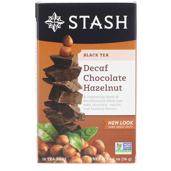 Black Tea, Decaf Chocolate Hazelnut, 18 Tea Bags, 1.2 oz (36 g)