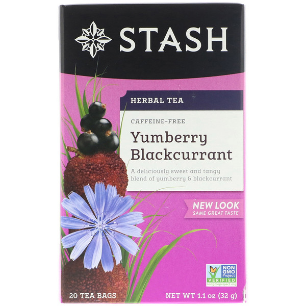 Stash Tea, Herbal Tea, Yumberry Blackcurrant, Caffeine Free, 20 Tea Bags, 1.1 oz (32 g)