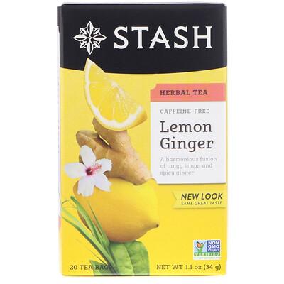 Купить Травяной чай, лимон и имбирь, без кофеина, 20чайных пакетиков, 34г