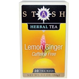 Stash Tea, Premium, Lemon Ginger Herbal Tea, Caffeine Free, 20 Tea Bags, 1.1 oz (34 g)