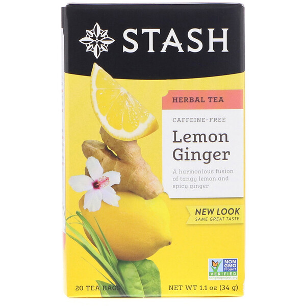 Herbal Tea, Lemon Ginger, Caffeine Free, 20 Tea Bags, 1.1 oz (34 g)