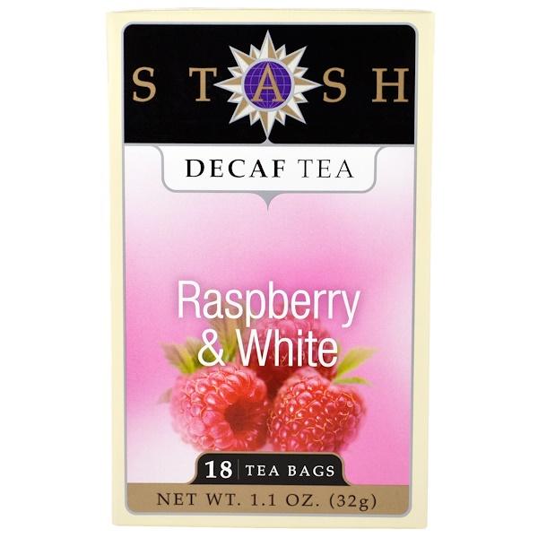 Stash Tea, Decaf Tea, Raspberry & White, 18 Tea Bags, 1.1 oz (32 g) (Discontinued Item)