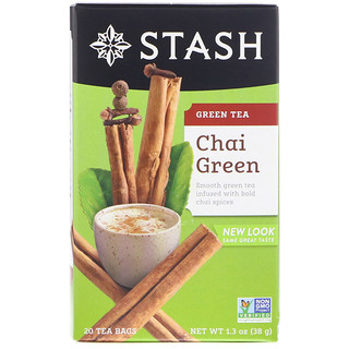 Stash Tea, Green Tea, Chai Green , 20 Tea Bags, 1.3 oz (38 g)