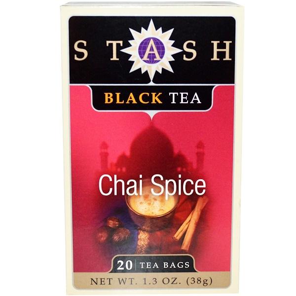 Stash Tea, Черный чай, чай с пряностями, 20 чайных пакетиков, 1,3 унции (38 г)