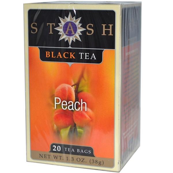 Stash Tea, Black Tea, Peach, 20 Tea Bags, 1.3 oz (38 g)