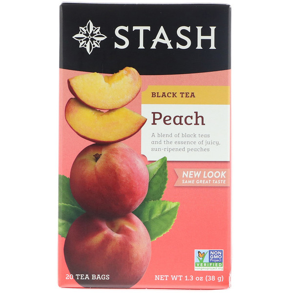 Stash Tea, Black Tea, Peach, 20 Tea Bags, 1.3 oz (38 g)