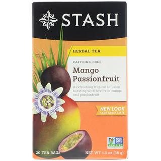 Stash Tea, Herbal Tea, Mango Passionfruit, Caffeine Free, 20 Tea Bags, 1.3 oz (38 g)
