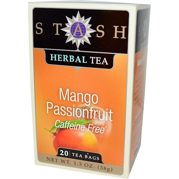 Stash Tea, Высший сорт, манго и маракуйя, травяной чай, без кофеина, 20 чайных пакетиков, 1,3 унции (38 г)