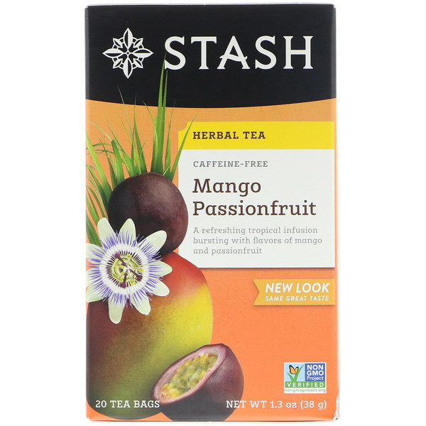 Stash Tea, Herbal Tea, Mango Passionfruit, Caffeine Free, 20 Tea Bags, 1.3 oz (38 g)