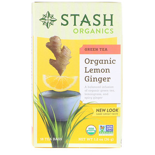 Stash Tea, Green Tea, Organic Lemon Ginger, 18 Tea Bags, 1.2 oz (36 g)
