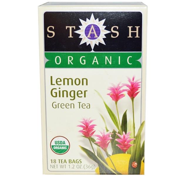 Stash Tea, Органический зеленый чай высшего сорта, лимон и имбирь, 18 чайных пакетиков, 1,2 унции (36 г)