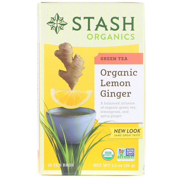 Stash Tea, Green Tea, Organic Lemon Ginger, 18 Tea Bags, 1.2 oz (36 g) (Discontinued Item)