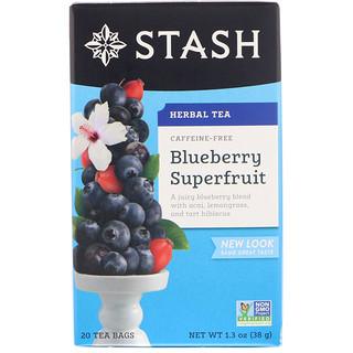 Stash Tea, ハーブティー, ブルーベリースーパーフルーツ, カフェインフリー, 20袋, 1.3オンス (38 g)