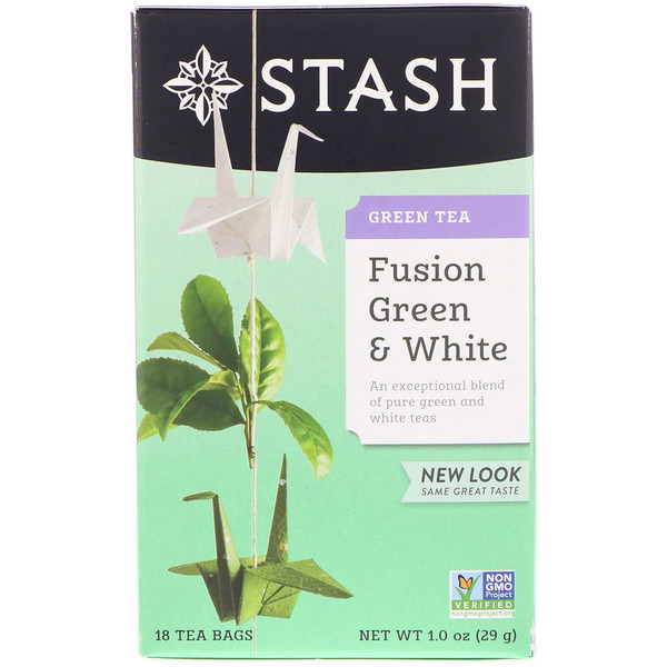 Stash Tea, Green Tea, Fusion Green & White, 18 Tea Bags, 1.0 oz (29 g) (Discontinued Item)