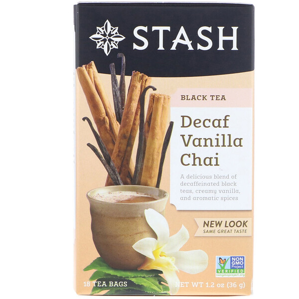 Black Tea, Decaf Vanilla Chai, 18 Tea Bags, 1.2 oz (36 g)