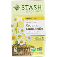 Herbal Tea, Organic Chamomile, Caffeine Free, 18 Tea Bags, 0.6 oz (18 g) - фото