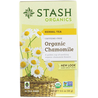 Stash Tea, Herbal Tea, Organic Chamomile, Caffeine Free, 18 Tea Bags, 0.6 oz (18 g)