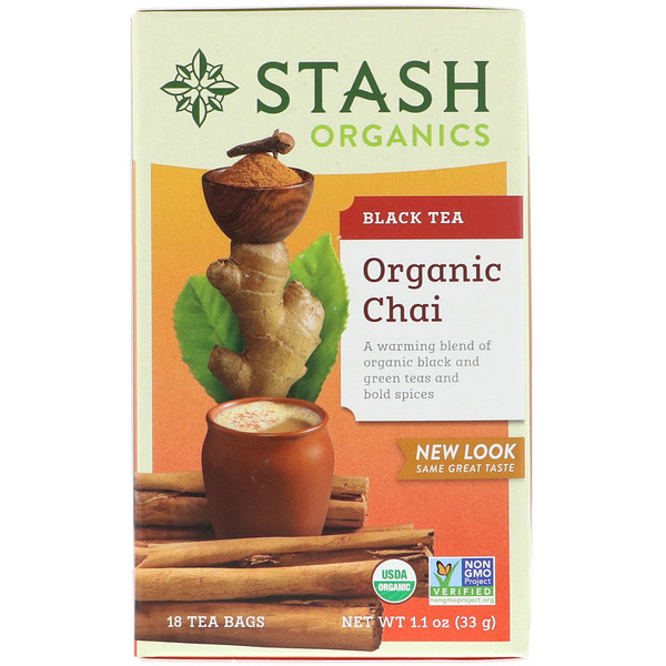 Stash Tea, Black Tea, Organic Chai, 18 Tea Bags, 1.1 oz (33 g) (Discontinued Item)