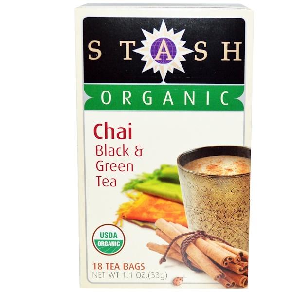 Stash Tea, Органический чай высшего сорта, черный и зеленый чай, 18 чайных пакетиков, 1,1 унции (33 г)