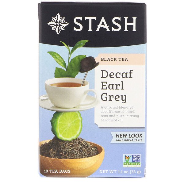 Black Tea, Decaf Earl Grey, 18 Tea Bags, 1.1 oz (33 g)