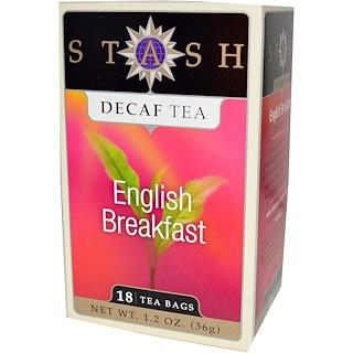 Stash Tea, Premium, Decaf Tea, English Breakfast, 18 Tea Bags, 1.2 oz (36 g)
