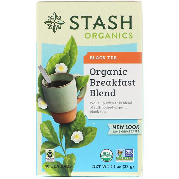 Stash Tea, Black Tea, Organic Breakfast Blend, 18 Tea Bags, 1.1 oz (33 g) (Discontinued Item)