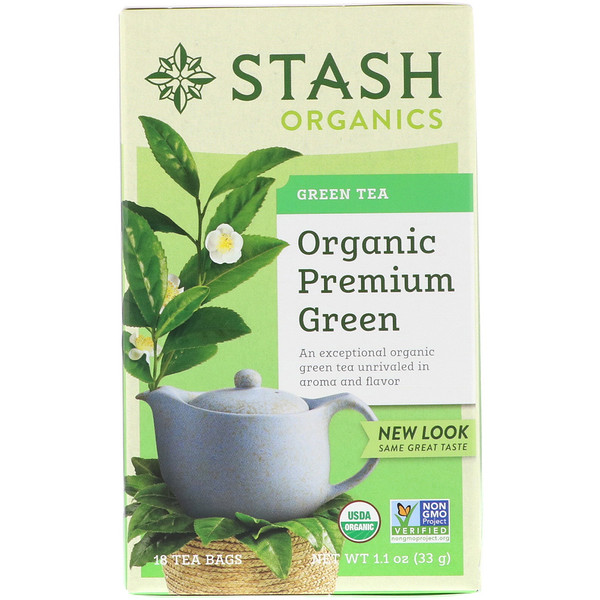Stash Tea, Green Tea, Organic Premium Green , 18 Tea Bags, 1.1 oz (33 g) (Discontinued Item)