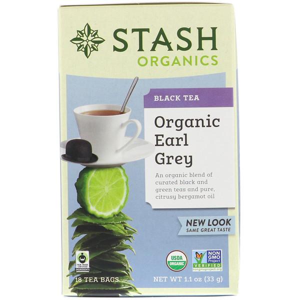 Stash Tea, Высший сорт, органический черный и зеленый чай Earl Grey, 18 чайных пакетиков, 1,1 унции (33 г) (Discontinued Item)