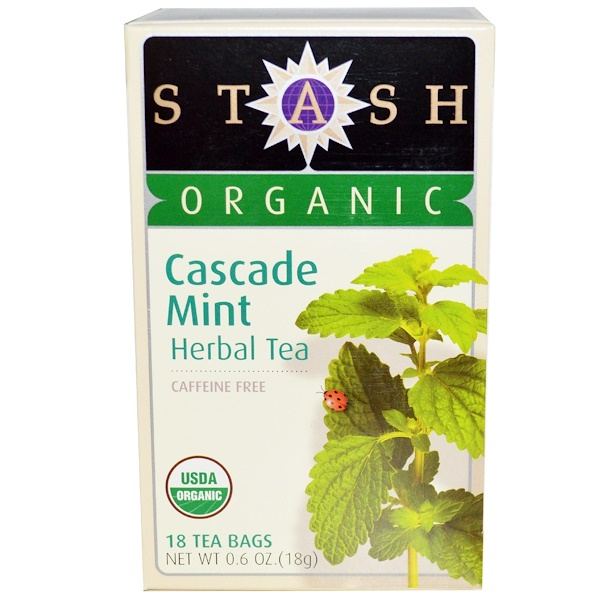 Stash Tea, Высший сорт, органический травяной чай Cascade Mint, без кофеина, 18 чайных пакетиков, 0,6 унции (18 г)