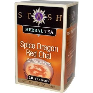 Stash Tea, Premium Herbal Tea, Spice Dragon Red Chai, Caffeine Free, 18 Tea Bags, 1.2 oz (36 g)