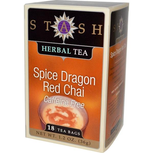 Stash Tea, 高級花草茶,大紅香料奶茶,不含咖啡因,18 茶袋,1、2 盎司(36 克)