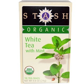 Stash Tea, Premium, Organic, White Tea, With Mint, 18 Tea Bags, 0.8 oz (24 g)