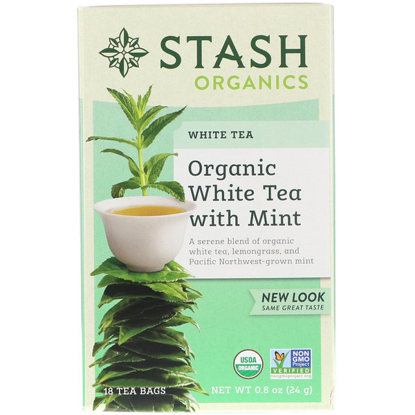 Stash Tea, Organic, White Tea With Mint, 18 Tea Bags, 0.8 oz (24 g)