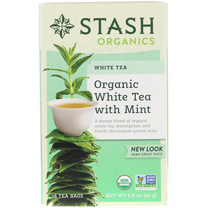 Стэш Ти, Organic, White Tea With Mint, 18 Tea Bags, 0.8 oz (24 g) отзывы покупателей