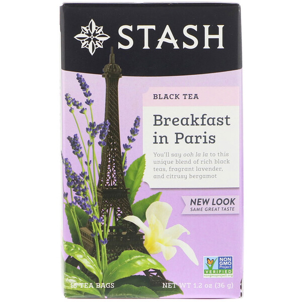 Stash Tea, Black Tea, Breakfast in Paris, 18 Tea Bags, 1.2 oz (36 g)