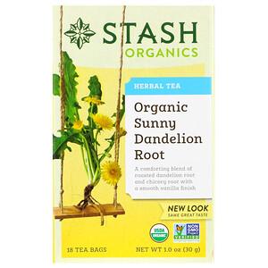 Стэш Ти, Herbal Tea, Organic Sunny Dandelion Root, 18 Tea Bags, 1.0 oz (30 g) отзывы покупателей