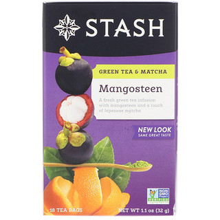 Stash Tea, Green Tea & Matcha, Mangosteen, 18 Tea Bags, 1.1 oz (32 g)