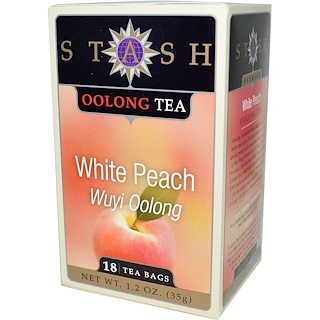 Stash Tea, Premium, Wuyi Oolong Tea, White Peach, 18 Tea Bags, 1.2 oz (35 g)