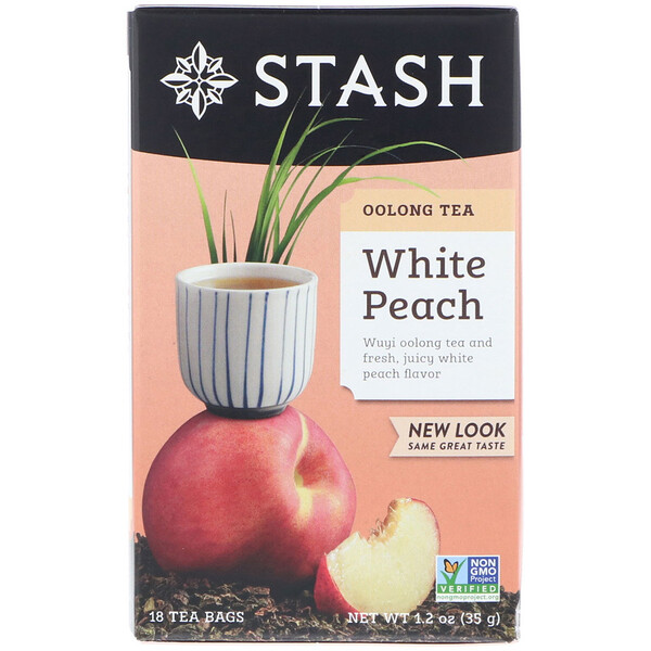 Stash Tea, Oolong Tea, White Peach, 18 Tea Bags, 1.2 oz (35 g)