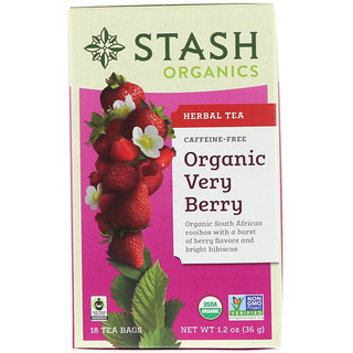 Stash Tea, オーガニック, ハーブティー, べリーベリー(Very Berry), カフェインフリー, 18ティーバッグ, 1.2オンス(36 g)