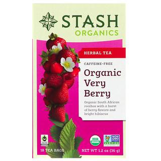 Stash Tea, Herbal Tea, Organic Very Berry, Caffeine Free, 18 Tea Bags, 1.2 oz (36 g)