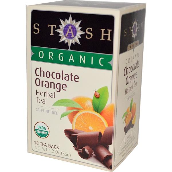 Stash Tea, 有機,花草茶,巧克力橙子,不含咖啡因,18 茶袋,1、2 盎司(36 克)