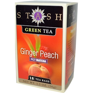 Stash Tea, Green Tea, Ginger Peach with Matcha, 18 Tea Bags, 1.2 oz (36 g)