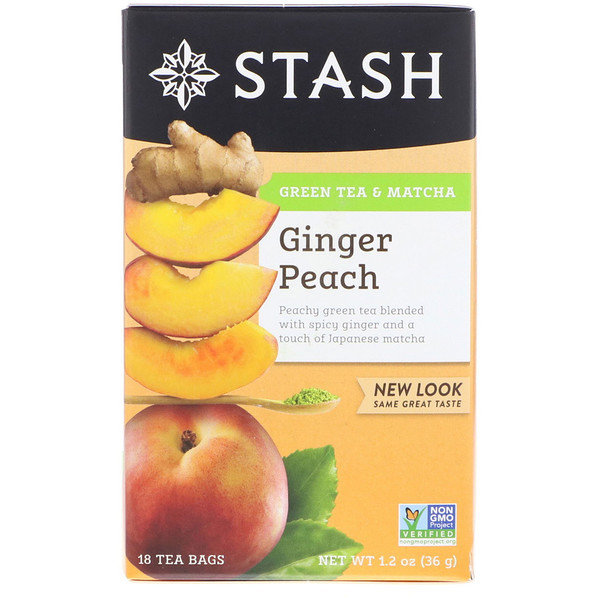Stash Tea, Green Tea & Matcha, Ginger Peach, 18 Tea Bags, 1.2 oz (36 g)