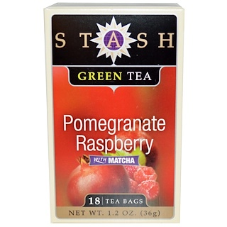 Stash Tea, Premium, Green Tea, Pomegranate Raspberry, With Matcha, 18 Tea Bags, 1.2 oz (36 g)